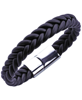 Sutton Stainless Steel Fishtail Braided Leather Bracelet