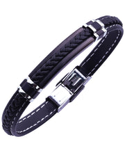Load image into Gallery viewer, Sutton Stainless Steel Stationed Silicone Bracelet with Braided Stripe Detail