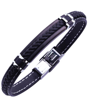 Sutton Stainless Steel Stationed Silicone Bracelet with Braided Stripe Detail