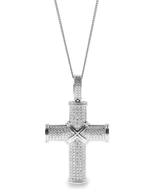 Sutton Sterling Silver Cubic Zirconia Cross Pendant Necklace