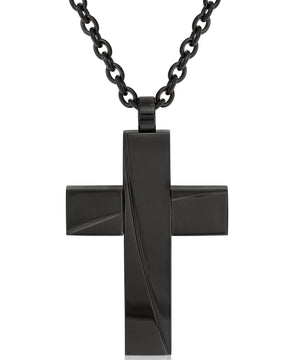 Sutton Black Stainless Steel Stripe Cross Pendant Necklace