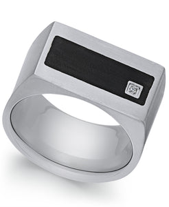 Men's Stainless Steel Cubic Zirconia and Black Enamel Ring