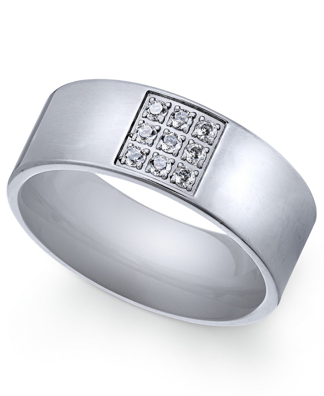Men's Stainless Steel Cubic Zirconia Ring