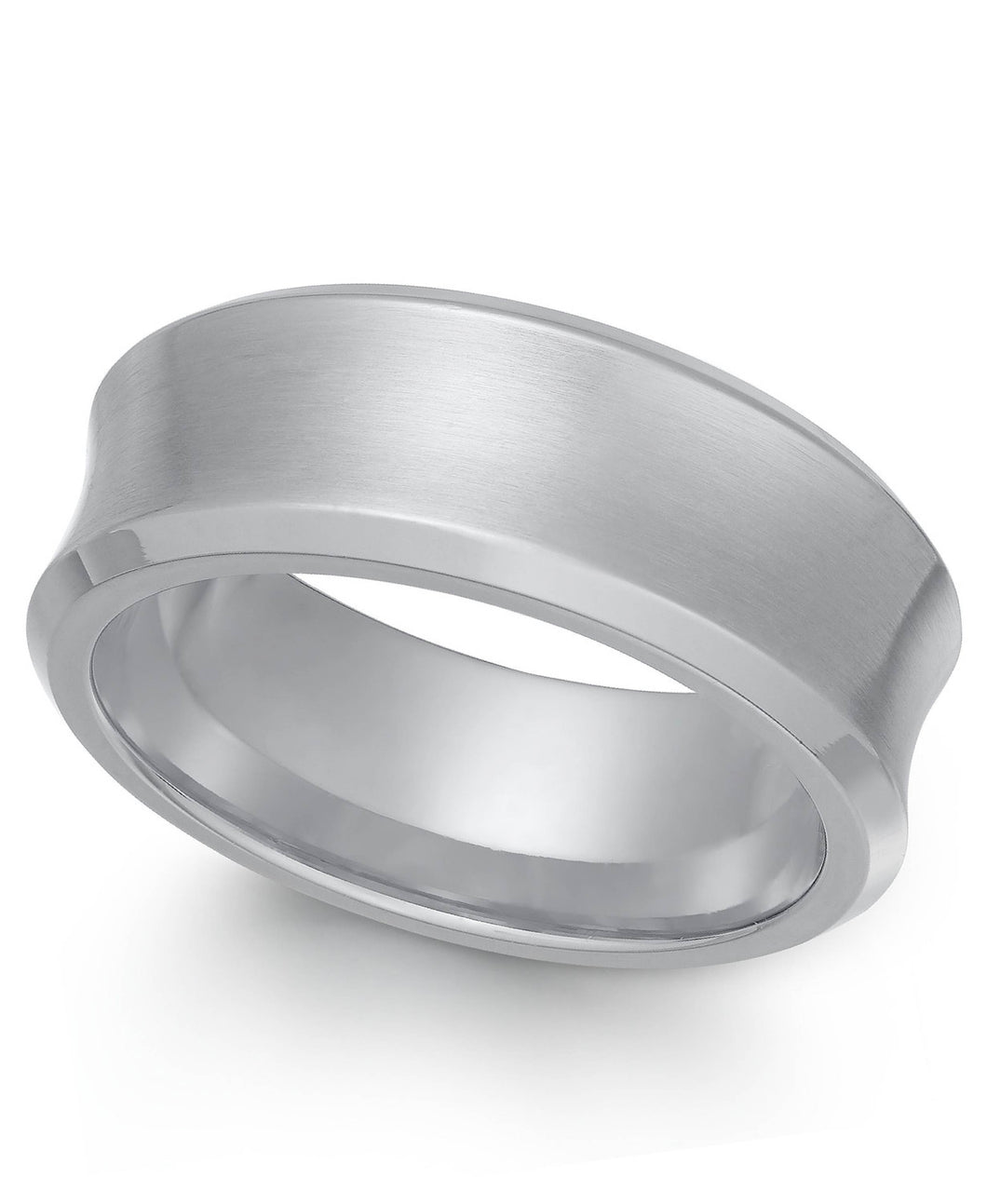 Men's Stainless Steel Cancave Matte Ring