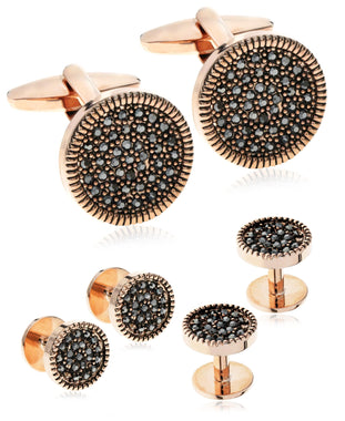 Men's Rose Gold-Tone Hematite CZ Cufflinks & Tuxedo Buttons Set