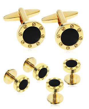 Men's Gold-Tone 3-Pc. Set Stone Cufflinks & Tuxedo Buttons