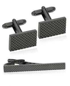 Men's Gunmetal Textured Cufflinks & Tie Bar Set