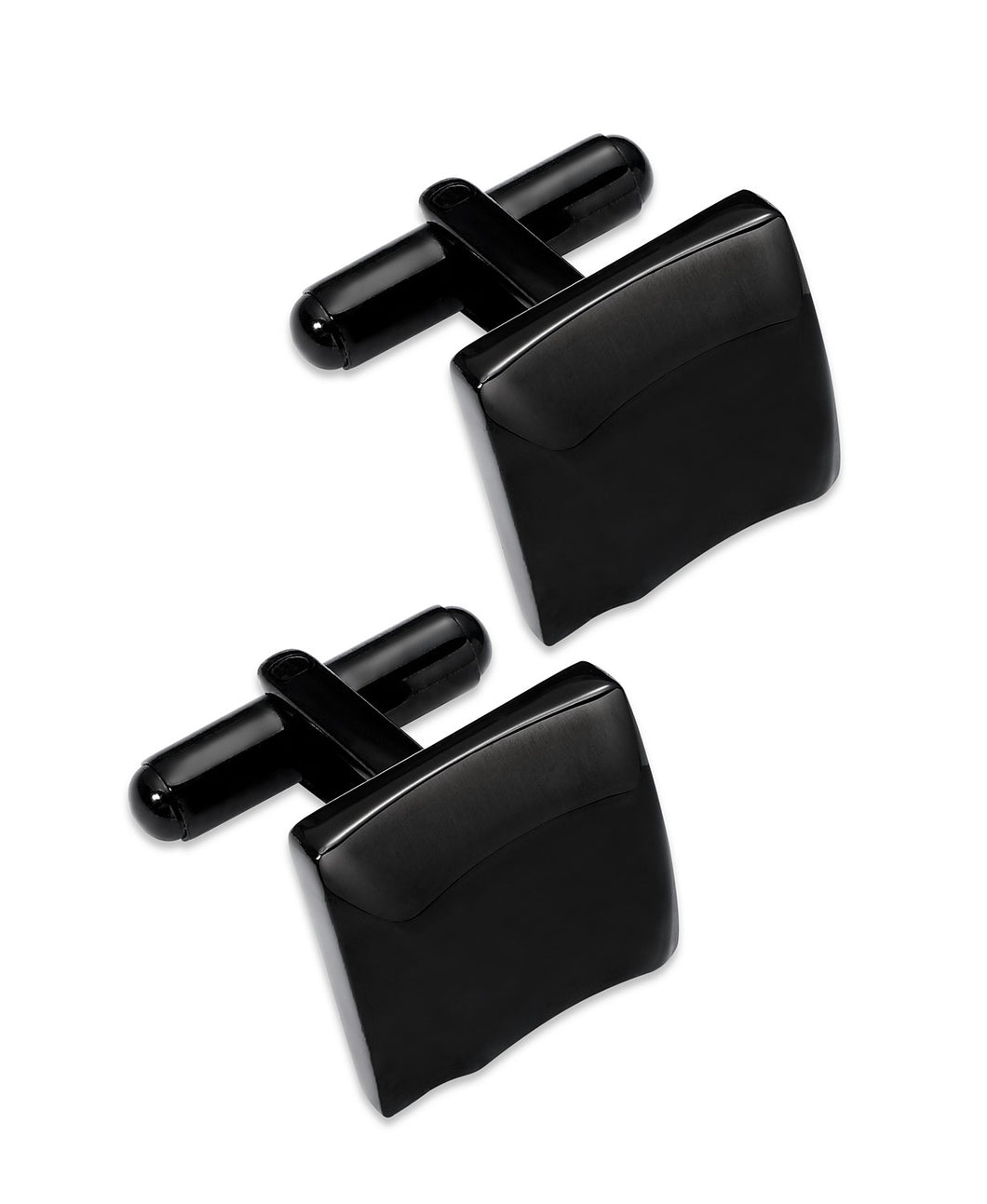 Black Ion-Plated Stainless Steel Sculpted Square Cuff Links