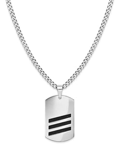 Men's Stainless Steel Striped Dog Tag Pendant Necklace