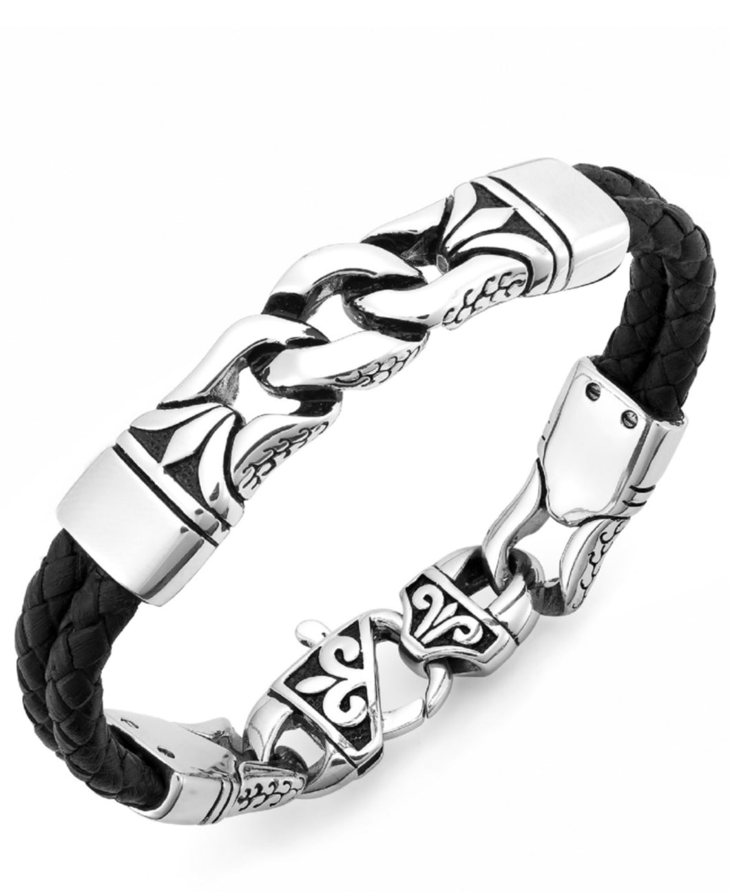 Men's Stainless Steel Link and Braided Leather Bracelet