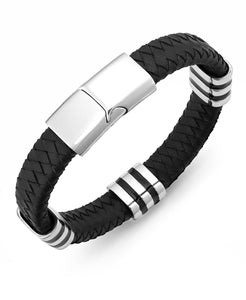 Men's Stainless Steel Striped Station and Herringbone Leather Bracelet