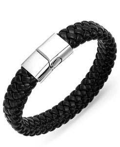 Men's Stainless Steel Clasp and Black Braided Leather Bracelet
