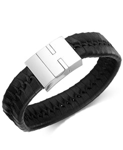 Men's Stainless Steel and Braided Black Leather Bracelet