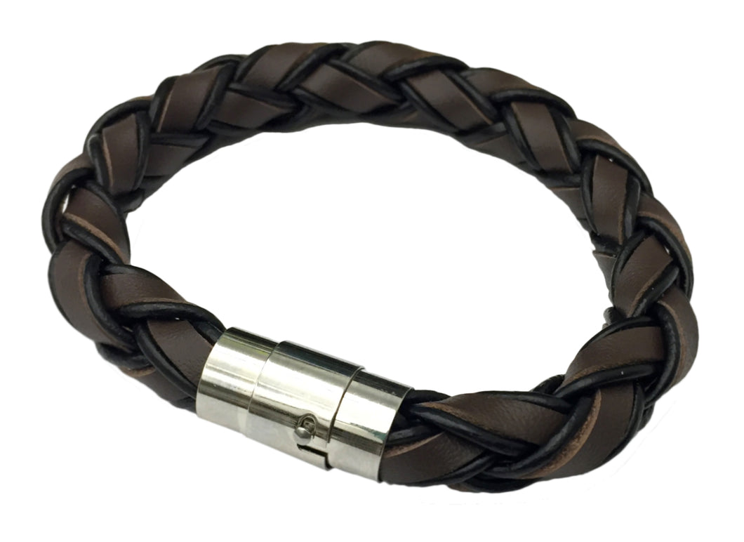 Men's Stainless Steel Two Tone Braided Leather Bracelet