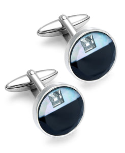 Stainless Steel Glass and Cubic Zirconia Circle Cuff Links