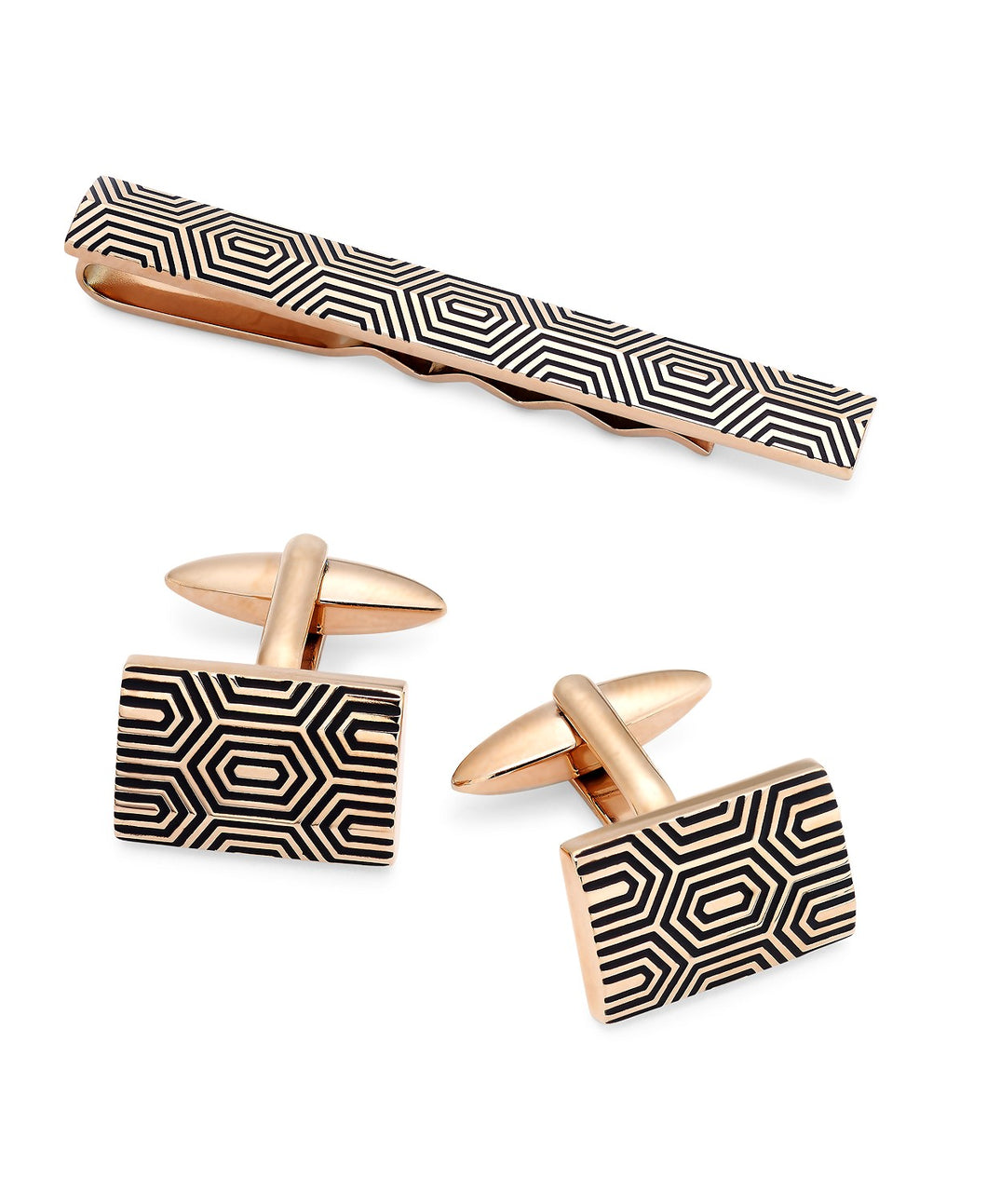 Sutton by Men's Gold-Tone Decorative Cuff Links & Tie Bar Set