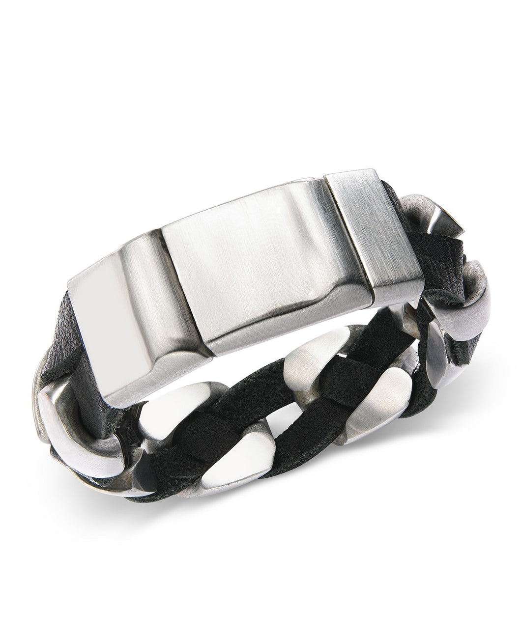 Stainless Steel and Black Leather Chain Bracelet