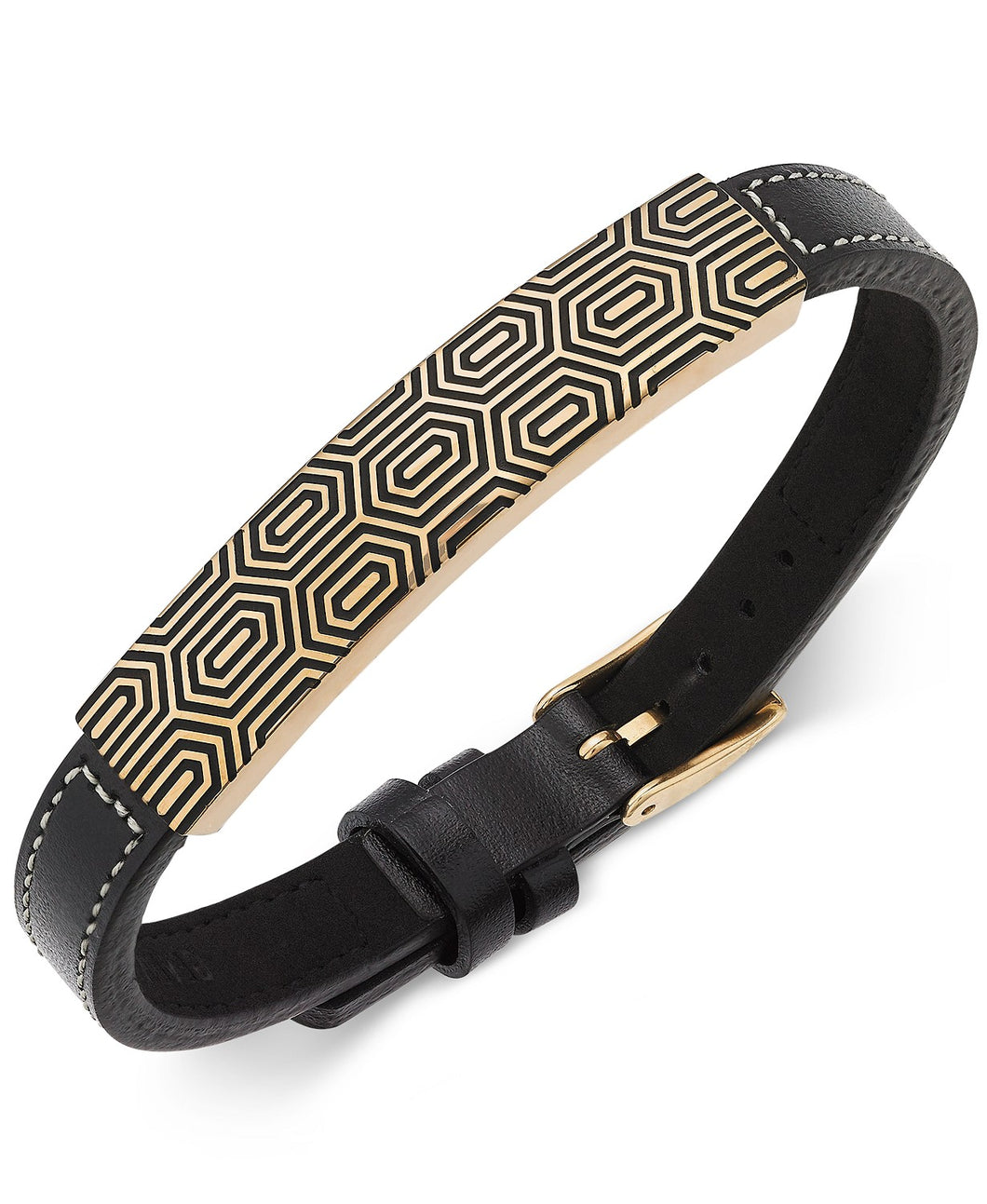 Men's Gold-Tone and Leather Strap Bracelet