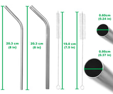 Load image into Gallery viewer, All Bent Stainless Steel Straw Set - 2 Sizes