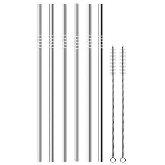 EXTRA LONG Stainless Steel Straw Set. All Straight and EXTRA Long.
