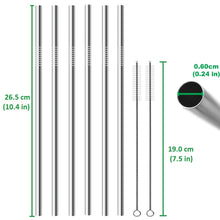 Load image into Gallery viewer, EXTRA LONG Stainless Steel Straw Set. All Straight and EXTRA Long.