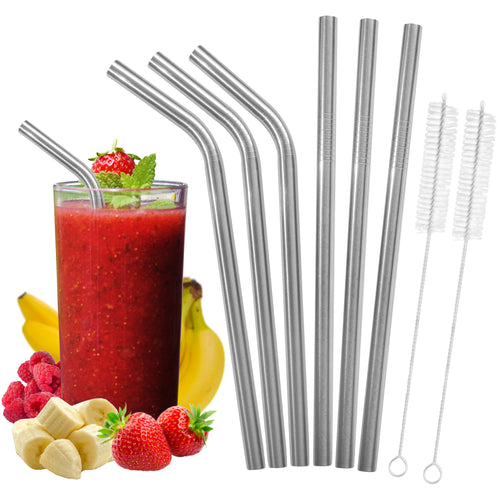 All Wide Stainless Steel Smoothie Straws set - Bent & Straight