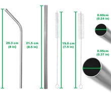 Load image into Gallery viewer, Mixed Stainless Steel Straws Set - 4 Wide, 4 Regular - Straight & Bent
