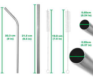 Mixed Stainless Steel Straws Set - 4 Wide, 4 Regular - Straight & Bent