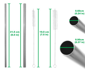 All Straight Stainless Steel Straws Set - 2 Sizes