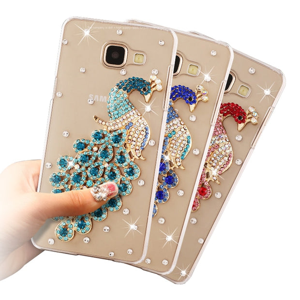 "12 Pattern Peacock Rhinestone For Samsung J5 Prime SM-G570F PC Hard Cover Case For Samsung Galaxy (J5 Prime)On5 2016 5.0""NOT J5"