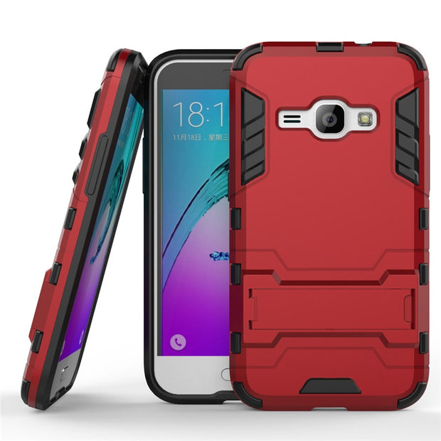 2 In 1 Dual Anti-knock Armor Frosted Hybrid Stand Full Protection Case For Samsung Galaxy J1 2016 J120 Soft Silicone Back Cover