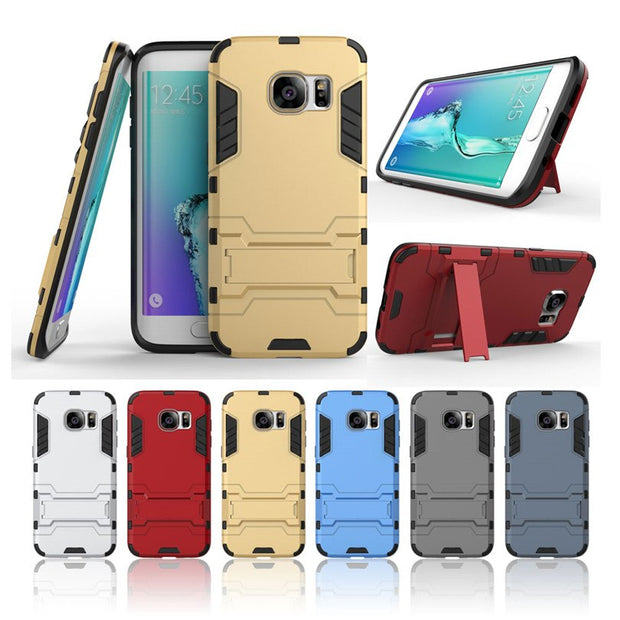 2 In 1 Dual Anti-knock Armor Frosted Hybrid Stand Full Protection Phone Case For Samsung Galaxy S7 Edge Soft Silicone Back Cover