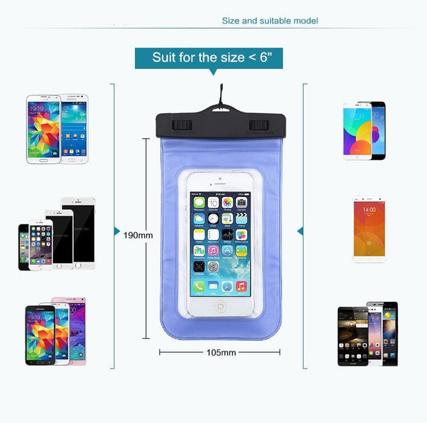 2Pc Universal Waterproof Beach Bag Case For IPhone 6 7 8 X 10 Transparent Dry Pouch For Samsung Ulefone S7 Under 6.0 Inch Phone