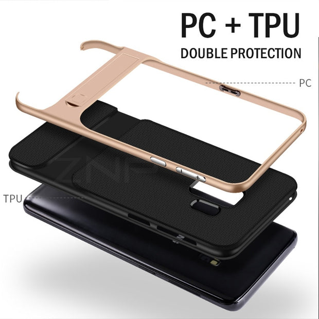 360 Full Cover Protective Case For Samsung Galaxy S9 S8 Plus PC + TPU Shock Proof Cover For Samsung Note 8 Kickstand Phone Case