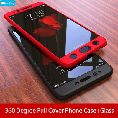 360 Full Cover Shockproof Phone Cases For Samsung Galaxy A6 A8 A9 2018 J4 J6 Plus J8 A7 2018 J5 J7 Prime Case + Tempered Glass