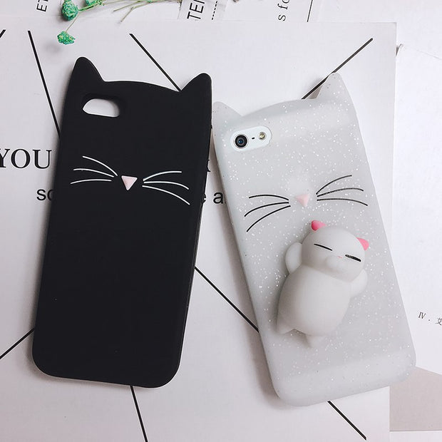 3D Cute Squishy Cat Phone Case For IPhone 6 6S 7 8 Plus X Case Cartoon Animal Bear For IPhone 5 S SE Silicone Cover For Iphone 8