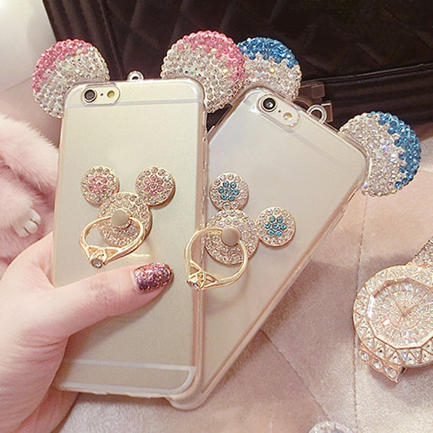 3D Mickey Crystal Ear Case For IPhone X 7 6 6S Plus 5S Cover With Ring Holder For Samsung S6 S7 Edge S8 Plus J3 J5 J7 2016 2017
