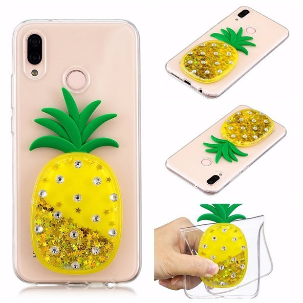 3D Owl Quicksand Liquid Soft Silicone Case For Samsung Galaxy J3 J5 J7 J4 J6 2017 2016 Note8 A3 A5 A6 A7 A8 2018 Pineapple Cover