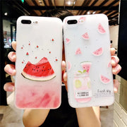 3D Relief Fruit Watermelon Matte Case For IPhone 7 6 6S Plus Soft Silicone Phone Cover Back For IPhone 8 X 7 6s Coque Capa