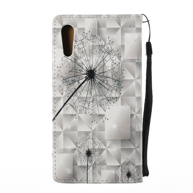 3D Relief PU Leather Flip Cover For Sony Xperia XZ Case Strong Magnetic Phone Cover Dandelion Poker Skull Feather Design