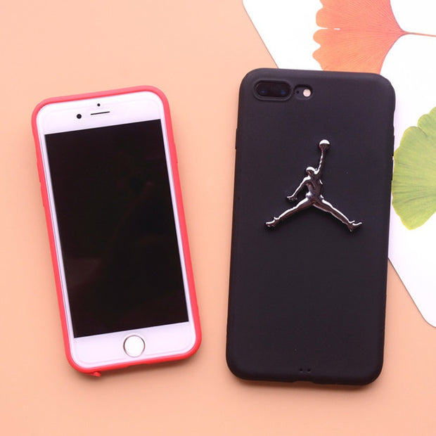 3D Air Jordan For Iphone 5 5s Se 6 6plus 6s Plus 7 7plus X 8 Matte Silicone TPU Case Plating Relief Metal Logo Sports Cover