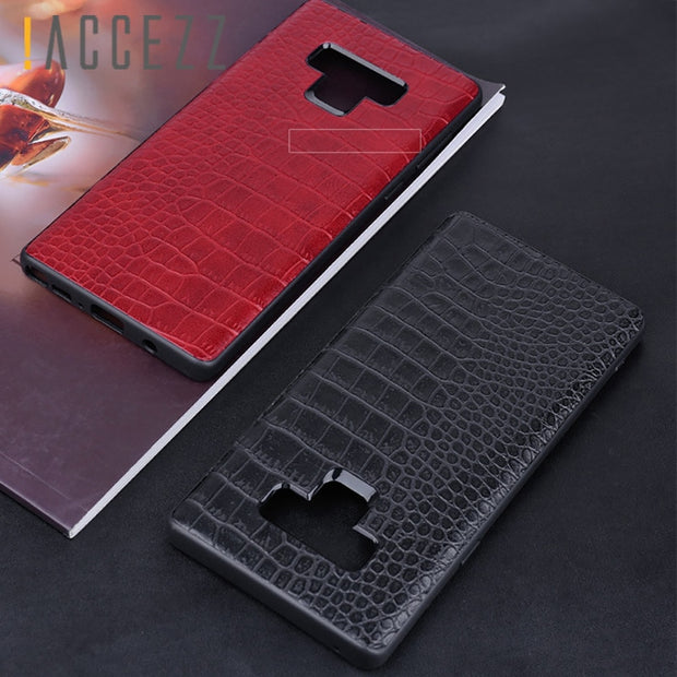 !ACCEZZ Crocodile Skin Full Protection Back Cover Case For Samsung Galaxy Note9 Ultra Slim Bussiness Anti-knock Funda Coque Capa
