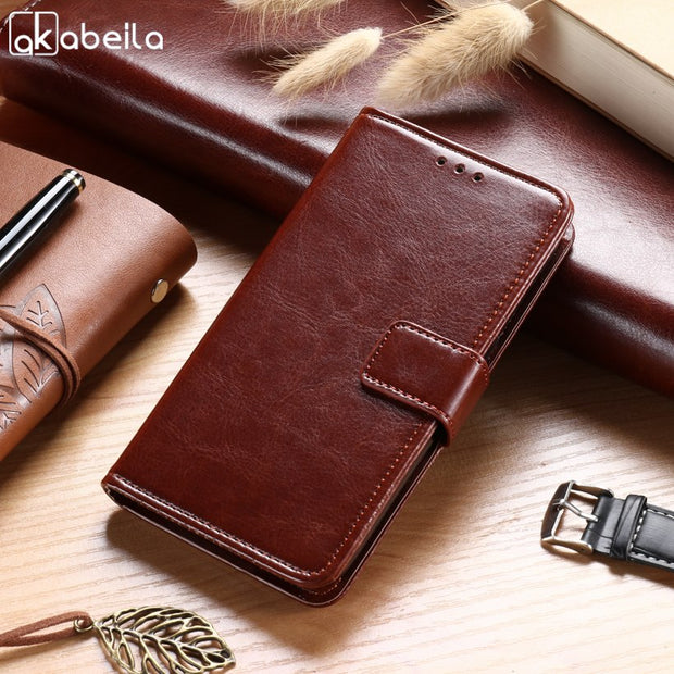 "AKABEILA Case For Alcatel OneTouch Idol 3 4.7"" 6039 6039A 6039K 6039Y 6039J Leather Flip Wallet Cases Card Slot Business Covers"