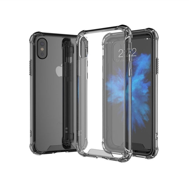 Acrylic Back And Frame TPU Ultra Slim Clear Shockproof Corner Reinforced 360 Degree Protection Case Cover For IPhone X