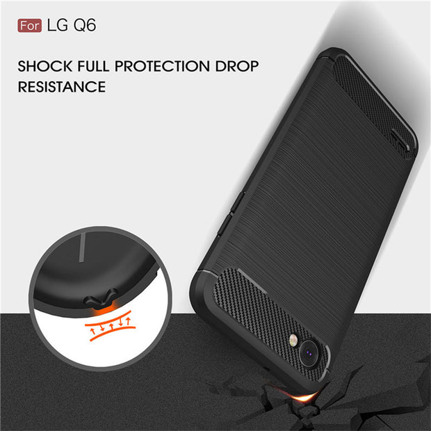 Armor Case For LG Q6 Soft Silicone Cases Carbon Fiber Drawing Protective Shell Cover Fundas For LG Q6 A Alpha Q6a Q 6 M700