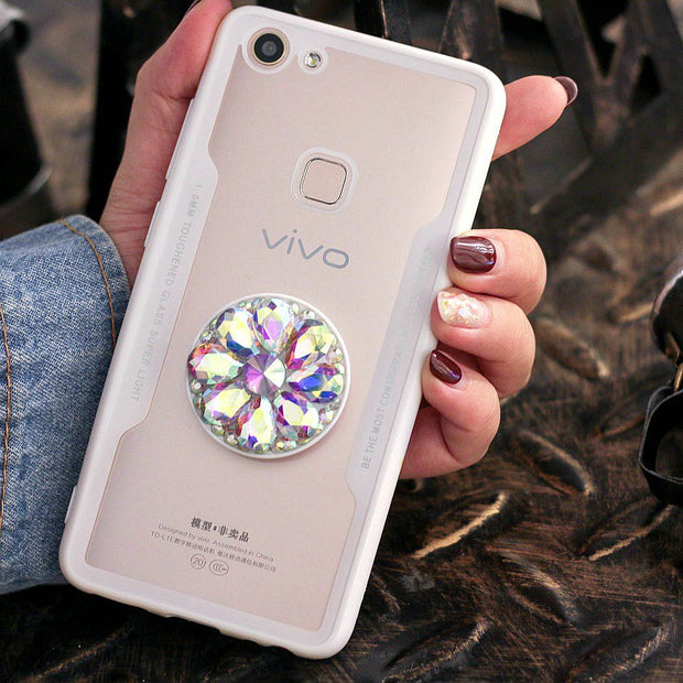 Axbety Luxury Glitter Diamond Case For VIVO X21i X21UD X9S X9 Plus 3D Bling Grip Stand Holder Cover Hard Back Phone Cases Fundas