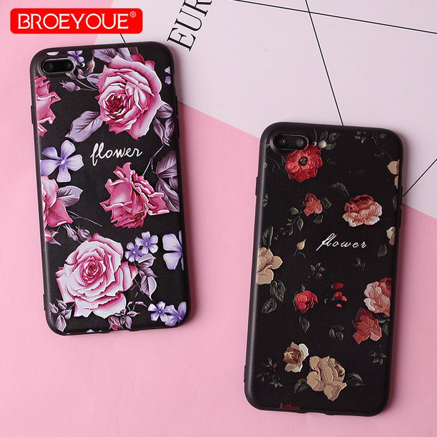 BROEYOUE 3D Relief Case For IPhone X 5 5S SE Soft Silicone TPU Ultra Thin Phone Case For IPhone 6 6S 7 8 Plus Cover Fundas Coque