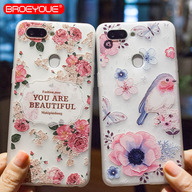 BROEYOUE Case For OPPO R9 R9S R11 R11S R15 Plus 3D Relief Soft Silicone TPU Case For OPPO A59/A59S/F1S A57/A39 Case Cover Fundas