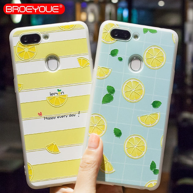 BROEYOUE Case For OPPO R9 R9S R11 R11S R15 Plus A59 A59S F1S A57 A39 3D Relief Soft Silicone TPU Phone Case Cover Fundas Capa