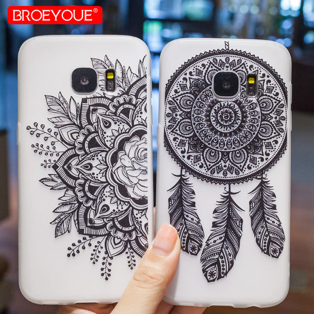 BROEYOUE Case For Samsung Galaxy S7 S8 S9 TPU Soft Silicone Flowers Matte Phone Covers For Galaxy A3 A5 A7 J3 J5 J7 2016 2017